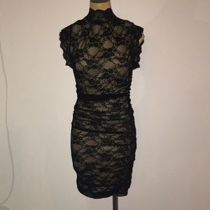 Lace black dress with built in slip